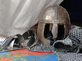 Knights armor with helmet, chain mail, gloves — Foto Stock