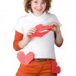 Stock Photo: Girl holding loveletter