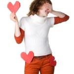Girl holding origami heart — Stock Photo #11387215