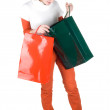 Girl with paper bags tired of shopping — Stock Photo #11387222