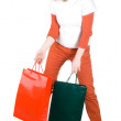 Girl with paper bags tired of shopping — Stock Photo