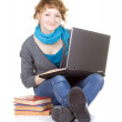 Foto Stock: Girl doing school work on laptop