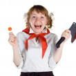 Scared pioneer girl with candy and bloody knife — Stock Photo
