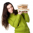 Girl holding books — Stock Photo