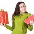 Girl with book and the gift - Stock Photo