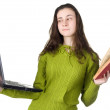 Girl with laptop and books — Stock Photo #11387338