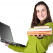 Girl with laptop and books — Stock Photo #11387339