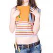 Smiling girl with notebook and pencil — Stock Photo