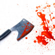 Isolated grunge knife with a splatter of red blood stains - Stock Photo
