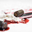 Stock Photo: Bullets, blood and cocaine - crime concept