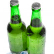 Two beer bottles in the ice — Stock Photo