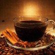 Dark coffee with cinnamon still-life in dark soft ambient light — Stockfoto #11387946