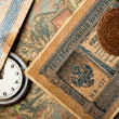 Ancient russian money with pocket watch background — Stock Photo