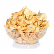 Bowl of chips isolated on white — Stock Photo