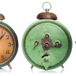 Vintage green alarm clock set isolated on white — Stock Photo