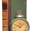 Vintage clock and antique book — Stock Photo