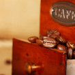 Coffee grinder with beans — Stockfoto