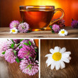 Herbal tea collage - Stockfoto