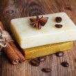 Handmade soap with coffee beans — Stock Photo