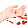 Crime scene with bullets and blood — Stock Photo