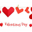 Valentines day origami hearts on a rope — Stock Photo #11389126