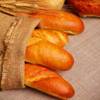 Bread on sack cloth — Stock Photo