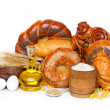 Bread assortment with ingredients — Stock Photo