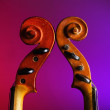 Two vintage violin scrolls — Stock Photo