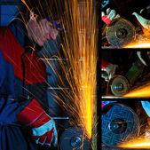 Grinding iron collage — Stock Photo