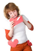 Girl holding loveletter — Stock Photo