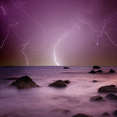 Lightning over sea — Stock Photo