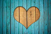 Wooden fence with heart — Stock Photo