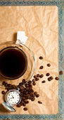 Vintage vertical coffee time banner - a cup of coffee with beans and antique pocket watch — Stock Photo