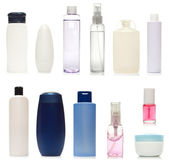 Collection of bottles of health and beauty products — Stock Photo