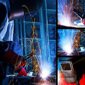 Welding iron collage — Foto Stock