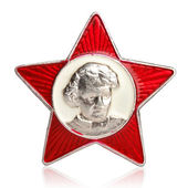 Little Octobrist USSR badge with Lenin portrait in centre — Stock Photo