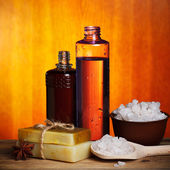 Spa handmade soap and salt still-life — Stock Photo