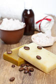 Hand-made soap and spa salt — Stock Photo