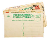 Vintage 1900s russian postcards stack — Стоковое фото