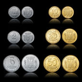 Shiny new Ukrainian coins set front and tail side isolated on black — Stock Photo