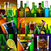 Beautiful alcohol drinks collage — 图库照片