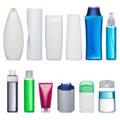 Set of plastic bottles of body care and beauty products — Stock Photo