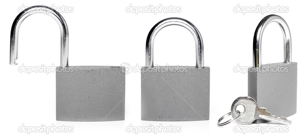 Closed and opened lock isolated on white — Stock Photo #11387653