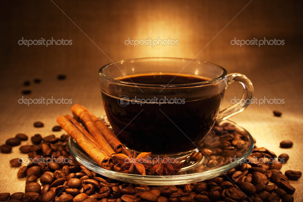 Dark coffee with cinnamon still-life in dark soft ambient light — Stock Photo #11387946