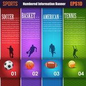 вектор спорта фон варианты чисел баннер и карта — Cтоковый вектор