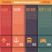 Vector Background Travel Theme Number Options Banner & Card — Stockvector