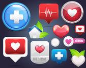 Set vector icon médical — Vecteur