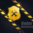 Under Construction Metallic Background Vector Design — Stock vektor