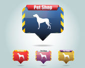 Vector Glossy Pet Shop Icon Button and multicolored — Stock Vector