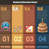 Vector Background Number Options Banner & Card — Stock Vector